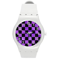 Square1 Black Marble & Purple Watercolor Round Plastic Sport Watch (m) by trendistuff