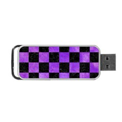 Square1 Black Marble & Purple Watercolor Portable Usb Flash (two Sides) by trendistuff