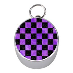 Square1 Black Marble & Purple Watercolor Mini Silver Compasses by trendistuff