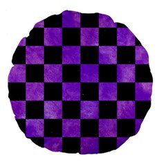 Square1 Black Marble & Purple Watercolor Large 18  Premium Flano Round Cushions by trendistuff