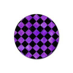 Square2 Black Marble & Purple Watercolor Rubber Round Coaster (4 Pack)  by trendistuff