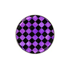 Square2 Black Marble & Purple Watercolor Hat Clip Ball Marker (4 Pack) by trendistuff