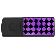 Square2 Black Marble & Purple Watercolor Rectangular Usb Flash Drive by trendistuff