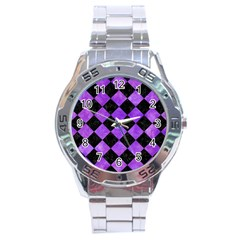 Square2 Black Marble & Purple Watercolor Stainless Steel Analogue Watch by trendistuff
