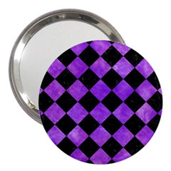 Square2 Black Marble & Purple Watercolor 3  Handbag Mirrors by trendistuff