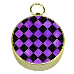 Square2 Black Marble & Purple Watercolor Gold Compasses