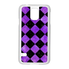 Square2 Black Marble & Purple Watercolor Samsung Galaxy S5 Case (white) by trendistuff