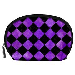 Square2 Black Marble & Purple Watercolor Accessory Pouches (large)  by trendistuff