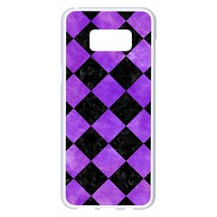 Square2 Black Marble & Purple Watercolor Samsung Galaxy S8 Plus White Seamless Case by trendistuff