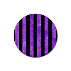 Stripes1 Black Marble & Purple Watercolor Rubber Round Coaster (4 Pack)  by trendistuff