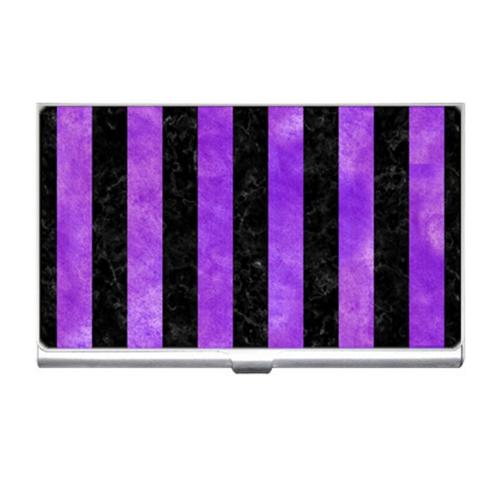 STRIPES1 BLACK MARBLE & PURPLE WATERCOLOR Business Card Holders