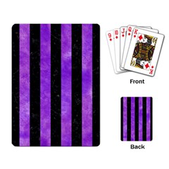 Stripes1 Black Marble & Purple Watercolor Playing Card by trendistuff