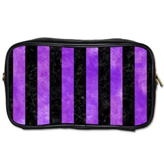 Stripes1 Black Marble & Purple Watercolor Toiletries Bags 2 Side by trendistuff