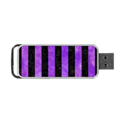 Stripes1 Black Marble & Purple Watercolor Portable Usb Flash (two Sides) by trendistuff