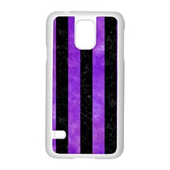 Stripes1 Black Marble & Purple Watercolor Samsung Galaxy S5 Case (white) by trendistuff