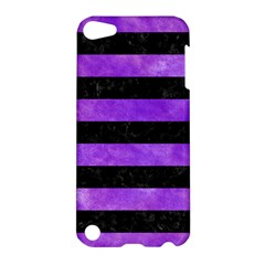 Stripes2 Black Marble & Purple Watercolor Apple Ipod Touch 5 Hardshell Case by trendistuff