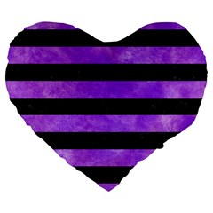 Stripes2 Black Marble & Purple Watercolor Large 19  Premium Flano Heart Shape Cushions by trendistuff