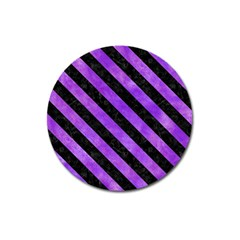 Stripes3 Black Marble & Purple Watercolor Magnet 3  (round) by trendistuff
