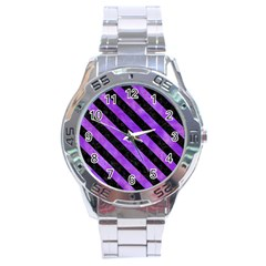 Stripes3 Black Marble & Purple Watercolor Stainless Steel Analogue Watch by trendistuff