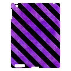 Stripes3 Black Marble & Purple Watercolor Apple Ipad 3/4 Hardshell Case by trendistuff