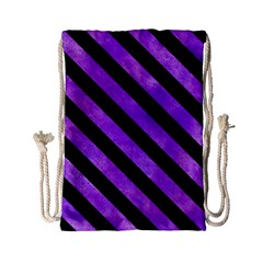Stripes3 Black Marble & Purple Watercolor Drawstring Bag (small) by trendistuff