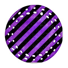 Stripes3 Black Marble & Purple Watercolor (r) Ornament (round Filigree) by trendistuff