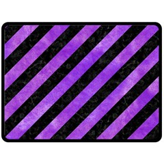 Stripes3 Black Marble & Purple Watercolor (r) Double Sided Fleece Blanket (large)  by trendistuff
