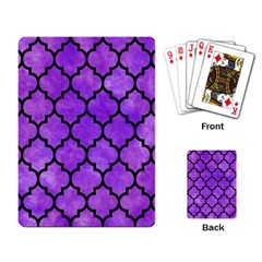 Tile1 Black Marble & Purple Watercolor Playing Card by trendistuff