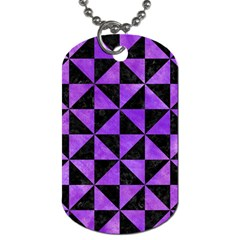Triangle1 Black Marble & Purple Watercolor Dog Tag (one Side)