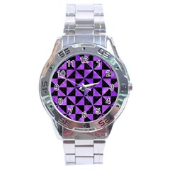 Triangle1 Black Marble & Purple Watercolor Stainless Steel Analogue Watch by trendistuff