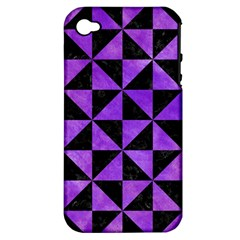 Triangle1 Black Marble & Purple Watercolor Apple Iphone 4/4s Hardshell Case (pc+silicone) by trendistuff