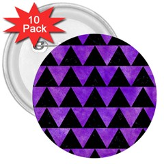 Triangle2 Black Marble & Purple Watercolor 3  Buttons (10 Pack)  by trendistuff