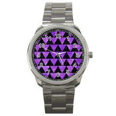 Triangle2 Black Marble & Purple Watercolor Sport Metal Watch by trendistuff
