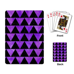 Triangle2 Black Marble & Purple Watercolor Playing Card by trendistuff