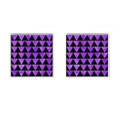 Triangle2 Black Marble & Purple Watercolor Cufflinks (square) by trendistuff