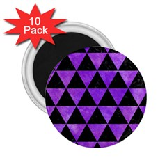 Triangle3 Black Marble & Purple Watercolor 2 25  Magnets (10 Pack)  by trendistuff