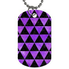 Triangle3 Black Marble & Purple Watercolor Dog Tag (one Side)
