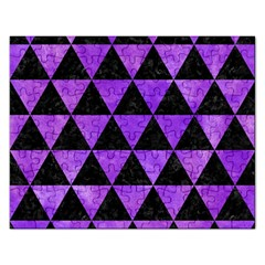 Triangle3 Black Marble & Purple Watercolor Rectangular Jigsaw Puzzl by trendistuff