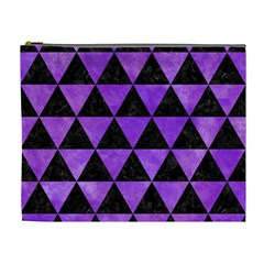 Triangle3 Black Marble & Purple Watercolor Cosmetic Bag (xl) by trendistuff