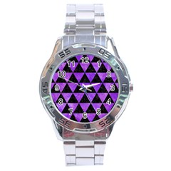 Triangle3 Black Marble & Purple Watercolor Stainless Steel Analogue Watch by trendistuff