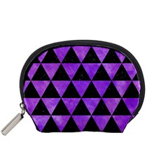 Triangle3 Black Marble & Purple Watercolor Accessory Pouches (small)  by trendistuff