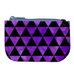 Triangle3 Black Marble & Purple Watercolor Large Coin Purse by trendistuff