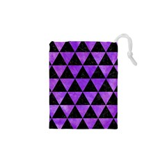Triangle3 Black Marble & Purple Watercolor Drawstring Pouches (xs)  by trendistuff
