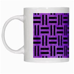 Woven1 Black Marble & Purple Watercolor White Mugs by trendistuff