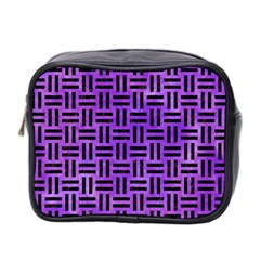 Woven1 Black Marble & Purple Watercolor Mini Toiletries Bag 2 Side by trendistuff