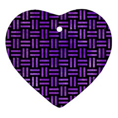 Woven1 Black Marble & Purple Watercolor (r) Heart Ornament (two Sides) by trendistuff