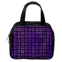 Woven1 Black Marble & Purple Watercolor (r) Classic Handbags (one Side) by trendistuff