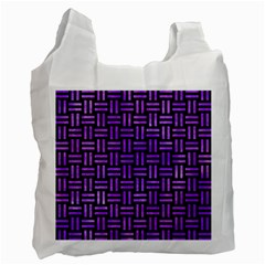 Woven1 Black Marble & Purple Watercolor (r) Recycle Bag (one Side) by trendistuff