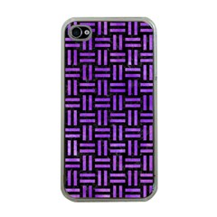 Woven1 Black Marble & Purple Watercolor (r) Apple Iphone 4 Case (clear) by trendistuff