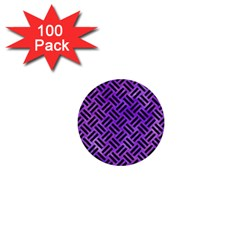 Woven2 Black Marble & Purple Watercolor 1  Mini Buttons (100 Pack)  by trendistuff